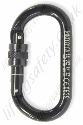 "Protecta ""AJ520"" Black Double Action Screwgate Aluminium Karabiner. Breaking Strength: 23kN. Gate Opening 17mm"