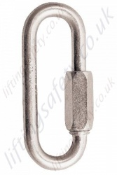 "Protecta ""AJ502"" Stainless Steel Oval Quick Link. Breaking Strength 35kN. H 74mm x W 34mm x 8mm Thick - Gate Opening 11mm"