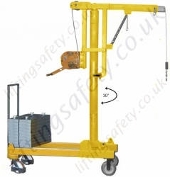 MANUAL OR POWERED - Rigid Arm Knock-down Counterbalance Floor Crane, Hand or Power Lift & Manual Travel. Many options Inc 20deg Rotation.