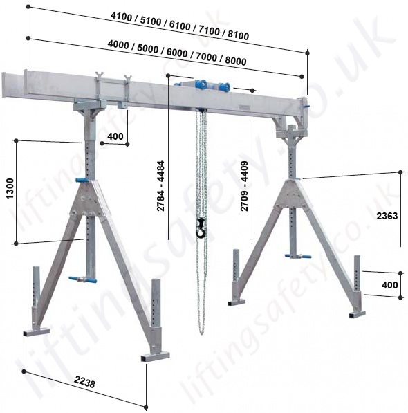 Overhead Cranes Dimensions : Alloy gantry a frame with twin parallel top beams and