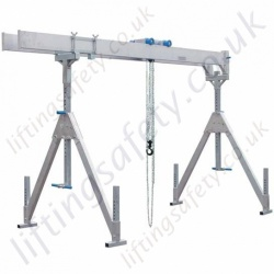 Alloy Gantry 'A' Frame with Twin Parallel Top Beams and Adjustable Feet, 2000kg or 3000kg (Many length options) (7 Options)