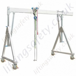 Fully Adjustable Aluminium Lifting Gantry Crane with Castors, 1000kg or 1500kg (small, medium or high, 6 options)