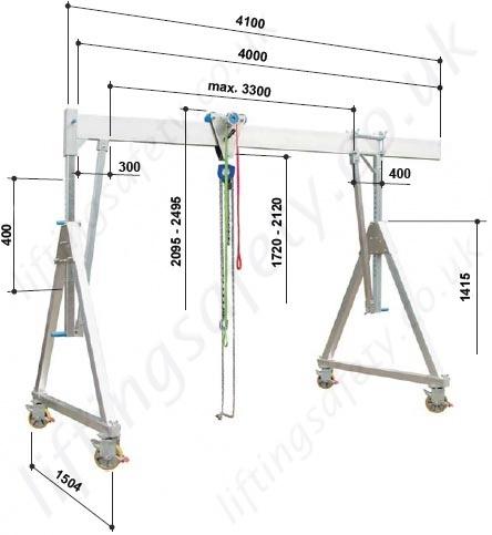 Fully Adjustable Aluminium Lifting Gantry Crane With