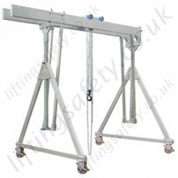 Alloy Gantry 'A' Frame with Twin Parallel Top Beams and Castors, 1000kg or 1500kg (small, medium or high, 30 options).
