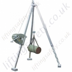 Lightweight and Adjustable Aluminium Tripod with Hand Winch and Pulley Sheave - 1000kg SWL