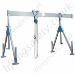 Alloy Split Top Beam Lifting Gantry, 1000kg or 1500kg x 4m Beam Length (longer available). Top Beam Splits in 2 Pieces (6 Options)
