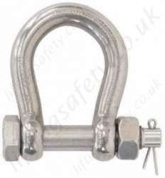 Stainless Steel Safety Pin Bow Shackle, Omega Shackle with Nut and Split Pin - Range from 600kg to 4000kg