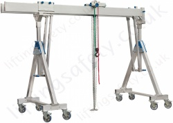 Alloy Gantry 'A' Frame with Twin Parallel Top Beams and Castors, 2000kg or 3000kg (6 options).