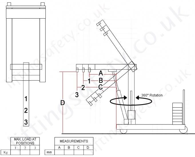 Manual Hybrid Knockdown Floor Crane Uses Legs Or