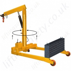 MANUAL - Hybrid Knockdown Floor Crane, Uses Legs or Counterweight for Stability. Many Options inc 30 Degree Rotation (under load) - Range to 2000kg