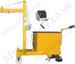 MANUAL OR POWERED - Rigid Arm Counterbalance Workshop Floor Crane With Moving Load Trolley, Hand or Powered Lift & Travel. Many options.