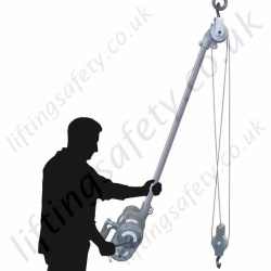 "LiftingSafety ""Tube Hoist"" Low Headroom Wire Rope Lifting Hoist. Options Manual or Air Powered (Pneumatic) - Range from 250kg to 750kg"
