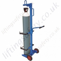 Heavy Duty Single Gas Cylinder Lifting Trolley With Push Handle, Adjustable from 180mm to 380mm - 150kg