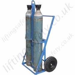 Two Gas Cylinder Lifting Trolley, Heavy Duty With Push Handle (no rear castor) For Cylinders From 180mm to 305mm Dia - 250kg