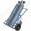 "Double Gas Cylinder Lifting Trolley, Heavy Duty 3 Wheel  With Push Handle and ""Rear Castor"". For Cylinders to 380mm Dia - 250kg"