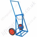 "Twin Cylinder Oxy-acetylene Gas Cylinder Push Trolley, ""No Rear Castor"". For Cylinders 1 x 250mm and 1 x 300mm Dia - 200kg"