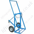 "Double Cylinder Push trolley for Oxy Acetylene Gas Cylinders ""With rear Castor"" For Cylinders 1 x 250mm and 1 x 300mm Dia"