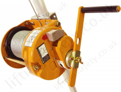 "Globestock ""CGE070"" 2 Speed Hand Operated Man-riding Wire Rope Winch (Lift Hoist) 136kg or 250kg MWL."