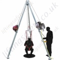 "LiftingSafety ""Electric Powered Lifting"" Man-Riding Tripod. Lightweight Aluminium Construction (when compared to a Steel equivalent) with Fall Protection and Rescue Options."
