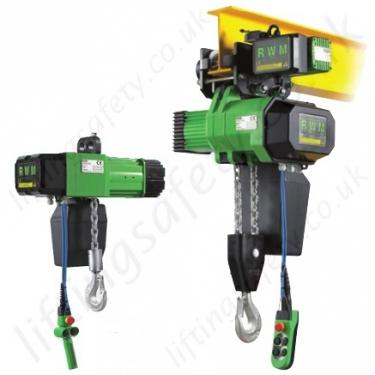 optional suspension types including lug, hook or trolley (manual/geared or  electric (powered/motorised))