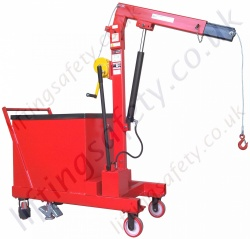 Pivoting Arm Counterbalance Workshop Floor Crane With Hydraulic Ram and Hand Winch Lifting, Manual Lift And Travel, Many Options