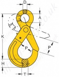 Grade 80 Eye Self Locking Hook Dimensions