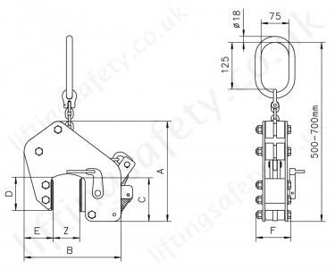 Tsb Non Marking Plate Clamp Dimensions