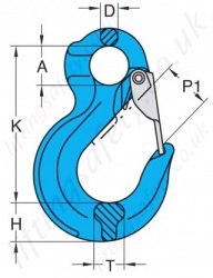 Grade 10 Eye Sling Hook Dimensions