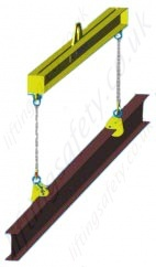 Lifting long beams in a vertical position