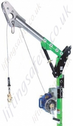 Man riding davit arm system with inertia reel with integrated rescue winch