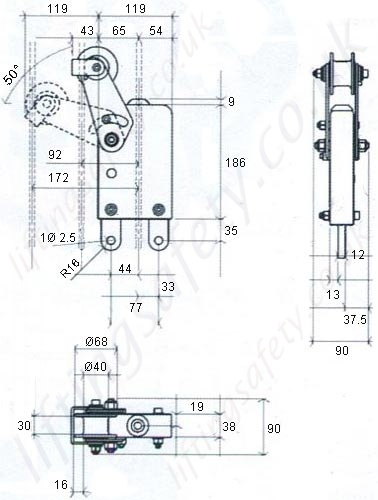 Inclined Position Device Dimensional Drawing