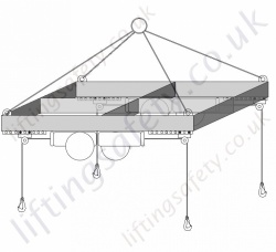 Four Hoist Spreader Beam System Lifting Towards Corners - Available as Centre Lift.