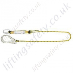 Yale Single Leg Fall Arrest Lanyard from Synthetic Rope with Scaffold Hooks - Length 1.5m or 2 metre