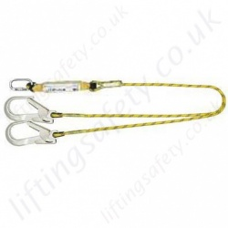 Yale Twin Tail, 2 Leg Fall Arrest Lanyard 100% Tie Off. 1 x Screwgate Karabiner & 2 x Scaffold Hooks  - 2 Metre