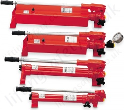 Yale 700 Bar Single Acting. 1 or 2 Stage Options. Robust Steel Hydraulic Hand Pump. Reservoir From 300cc to 10,000cc (7 Options)