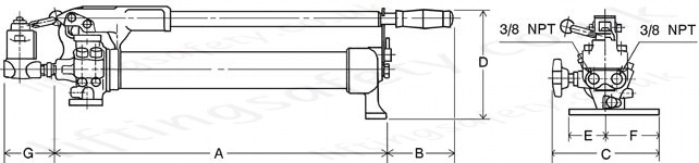 HPH double acting hand pump dimensions