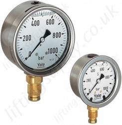 Yale Glycerine Filled Hydraulic Pressure Gauge. Range Available up to 2500 Bar (13 Options)