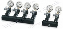Yale 700 Bar Hydraulic Manifolds with Shut Off Valves c/w Gauges, 2, 4 or 6 way (3 Options)