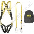 "Yale ""Kit 2"" (Basic Kit) Fall Arrest Kit with Single Point Harness and 2m shock Absorbing Lanyard with Screwgate Karabiners and a Carry Bag"