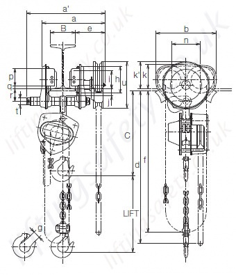 Geared Trolley Connected Hoist dimensions