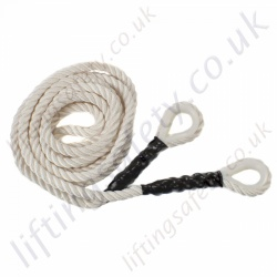 "Ridgegear ""RGA16E"" Three Strand Nylon Rope. Terminations Double Nylon Thimble Eye Spliced Ends - 16mm Diameter x 10, 20 and 30m (Or Custom Length)"