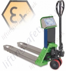 LiftingSafety Atex Semi Stainless Steel Pallet Truck (Zone 1 & 2 or 2 and 22) Forks 550mm x 1150mm - 2000kg - Range from 500kg to 2000kg