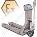 LiftingSafety Stainless Steel Atex Pallet Weighing Truck (ZONE 2, 22 and ZONE 1,22) Forks 550mm x 1182mm. From 500 to 2000kg. (4 Options)