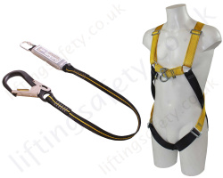 "Ridgegear ""RGHK2"" Scaffolders Fall Arrest Kit with 2 Point Harness, 1.8m Energy Absorbing Lanyard with Scaffold Hook and Case."