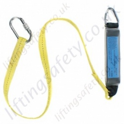 "Ridgegear ""RGL1"" Webbing Fall Arrest Lanyard and Shock Absorber. Choice of Karabiner, Scaffold Hook or Snap Hook - Length Options 1.3m or 1.8 Metre"