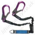 "Ridgegear ""RGL9"" Twin Leg Elasticated Webbing Fall Arrest Lanyard, 100% Tie Off. Choice of Karabiner, Scaffold Hook or Snap Hook - Length Options 1.3m or 1.8 Metre"