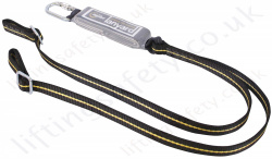 "Ridgegear ""RGL16"" Adjustable Twin Leg 100% tie-off Fall Arrest Lanyard. Choice of Karabiners, Scaffold Hooks and Snap Hook - 1.8 Metre"
