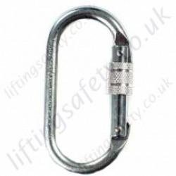 "Ridgegear ""RGK1"" Double Action Steel ""Screwgate"" Corrosion Resistant Karabiner. Breaking Strength 25Kn. H 108mm x W 58mm. Gate opening 17mm"