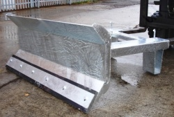 Fork Mounted Galvanised Snow Plough With Fixed LH Sweep at 15 Degrees. Bolt On Rubber Wear Strip - Blade Width From 1250mm to 1800mm