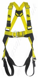 "P+P Safety ""2020 Quick Fit"" Two Point Fall Arrest Harness with Front and Rear 'D' Rings Pull Through Leg Buckles."